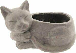 Clayre & Eef Blumentopf Katze aus Terracotta 26x15x16cm Landhaus shabby 6TE0202