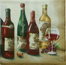 WINE  2 single LUNCH SIZE  paper napkins for decoupage 3-ply