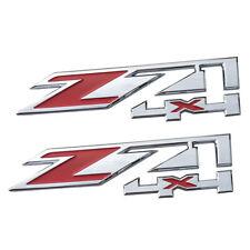 2x Front Fender Z71 4x4 Emblem Chrome w/ Red for Chevrolet Silverado GMC Sierra