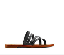 Tory Burch Patos Flat Slide 9.5M in Black Vachetta Leather - EUC
