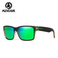 Kdeam Classic Sports Polarized Sunglasses Men's Real Film Square Outdoor Glasses