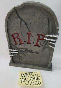 "Halloween RIP Skull Hands Tombstone Gravestone Plastic lights up 12"" tall Read⬇️"