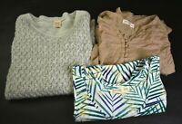 Lot of 3 Faded Glory Women's Medium Sleeveless Blouse Sweater Mixed Style Top