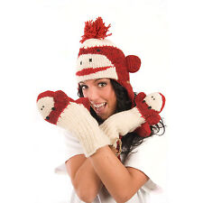 Delux Cute Red Sock Monkey Winter Warm Wool Mittens Knitwits Gloves Mitts NWT