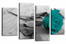 Large Rose Flower Grey Teal Black White Canvas Wall Art Picture Print 4 Panel