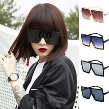 Trendy Women's Flat Top Large Oversize Square Frame Sunglasses Celebrity Glasses