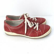 JOSEF SEIBEL Womens Red Leather Lace Up Caspian Sneakers Shoes Sz 38