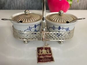Vintage Enoch Wedgewood Jam & Marmalade Pots Silver Plated Tray & Spoons