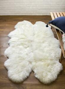 Genuine Australian Large Sheepskin Rug Four Pelt Natural Soft Fur, 4x6