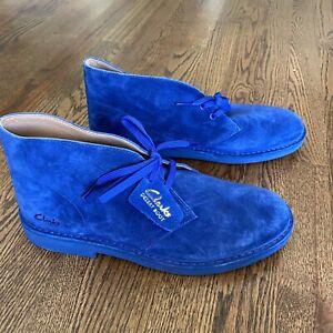 Clarks Men's Bushacre 2 Boot Suede Size 9 M - Bright Blue Suede New Sample