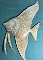 "Vintage Solid Brass Tropical  Fish Wall Hanging 14"" 3/4 tall X 8"" 7/8 W -Patina"