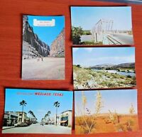 5 Postcards - Texas - Weslaco, Devils River, Big Bend Natl Pk, Yucca