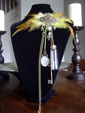 Steampunk Victorian Inspired Winged Green Heart Feather Chatelaine Brooch Pin