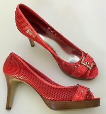Alfani PACIFIC Pink Red Perforated Peep Toe Pumps High Heel Shoes Size 8.5 M