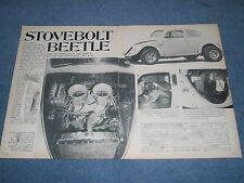 """1954 Volkswagen Bug Chevy Powered Vintage Article """"Stovebolt Beetle"""" Oval Window"""