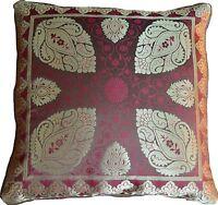 2 X Brown Cushion Covers Brocade Mandala 40cm Scatter Paisley Banarasi Silk Gold