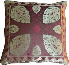 2 X Brown Cushion Covers Brocade Mandala 40cm Scatter Paisley Banarasi Silk Gold