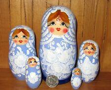 Matryoshka Russian Nesting Dolls 5 Sky Blue White Flowers Babushka signed GIFT