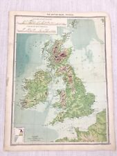 1909 Antique Map of The British Isles United Kingdom Physical George Philip