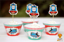 24 PCS THOMAS THE TANK CUPCAKE TOPPERS & WRAPPERS / PARTY SUPPLIES/ BIRTHDAY