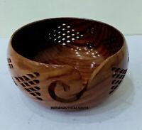 Handmade Knitting Crochet Wood Crafted Wooden Yarn Storage Bowl