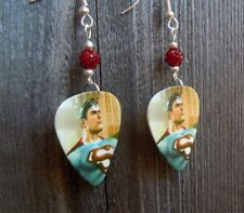 Superman Guitar Pick Earrings with Deep Red Pave Beads
