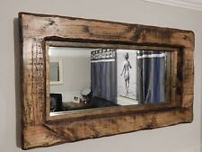 Wooden rustic decorative mirrors with shelf ebay chunky reclaimed wooden rustic farmhouse mirror dark oak wax wall furniture altavistaventures Images