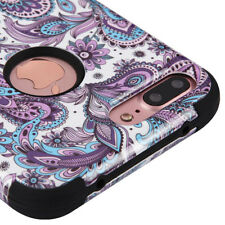 "APPLE IPHONE 7 PLUS 5.5"" PURPLE BLUE PAISLEY 3PCS SHOCK CASE TUFF RUGGED COVER"