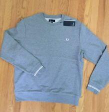 Fred Perry NWT Gray Steel Marl Twin Tip Crew Neck Sweatshirt Mens XL Mod Oi