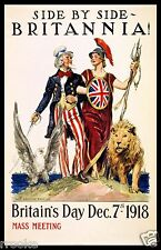 Britain's Day Britannia & Uncle Sam WWI Vintage Fine Art Print / Poster
