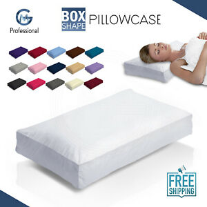 POLYCOTTON HOTEL QUALITY DYED BOX PILLOW CASE LUXURY FINE COVER CASES OXFORD FAB