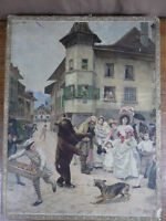 3 grands PUZZLES Jigsaw Circa. 1890 ill. JULES GIRARDET Chromo LITHOGRAPHIES