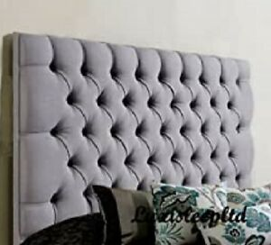 """Designer Chesterfield Buttoned Turin/linen Fabric Bed Headboard in 26"""" Height"""