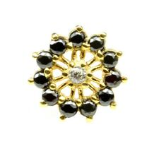 Real Gold Black White CZ Piercing Nose Stud Nose Pin Solid 14k Yellow Gold