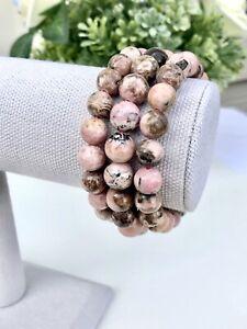 "10mm Genuine AAA Pink Rhodochrosite Beads Stretch Bracelet 7.5"""