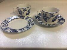 2 SETS BLUE HERON COFFEE TEA CUPS & SAUCER  BIRDS CHINA DINNERWARE VINTAGE JAPAN