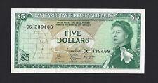 EAST CARIBBEAN $5 Dollars 1965 (ND 1974) P-14g Sign#8, C6 Prefix, QEII Ch. AU