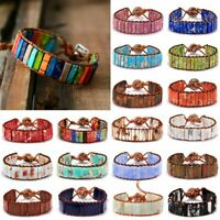 7 Chakra Bracelet Women Handmade Natural Stone Tube Beads Leather Bangle Gift