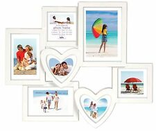 White Multi Aperture Photo Frame Picture Frame Holds 7 Photos Heart 7x5 4x6