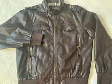 Mens Guess Leather Bomber Jacket XXL
