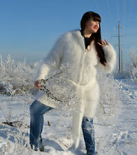 Hand knitted Cardigan Sweater hoody mohair Longhair 100% Goat Down fuzzy fluffy