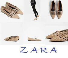ZARA Openwork Flats New With Tags Beige Pointed Shoes Size US 10 EUR 41