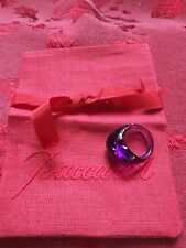 NEW FLAWLESS Exquisite BACCARAT France Crystal GALET WAVE Purple RING Size 5.5