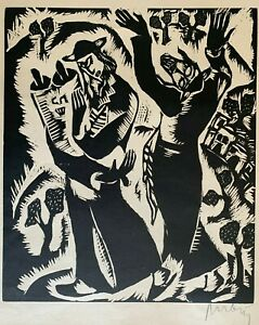 REUVEN RUBIN Original First Edition Signed Woodcut God-Seekers 1923
