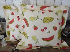 *Deko-Traeume* 2 Stuhlkissen Sitzkissen Früchte Landhaus Cremeweiss Bunt