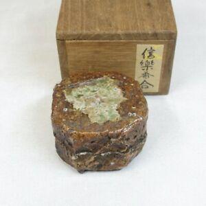 E0137: Japanese old SHIGARAKI stoneware incense case with wonderful atmosphere