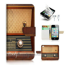 ( For iPhone 4 / 4S ) Flip Case Cover! P0666 Vintage Radio