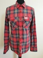 EE451 WOMENS SUPERDRY RED BLUE WHITE YELLOW CHECK ROLL SLEEVE SLIM SHIRT UK M
