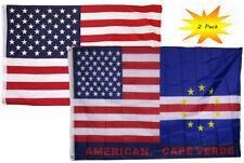 3x5 3'x5' Wholesale Set (2 Pack) USA American & USA Cape Verde Hybrid Flag