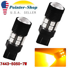 2x 7443/7440 High Power 7W Amber/Yellow LED Turn Signal Blinker Light Bulbs